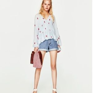 NWT ZARA TUNIC TOP BLOUSE WITH EMBROIDERY DETAIL